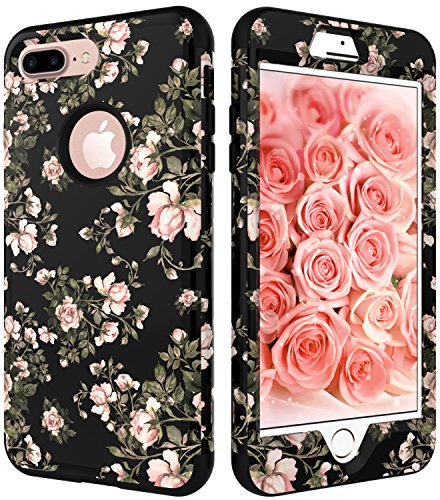 iPhone 7 Plus Case,VSCaseTM Hybrid Impact Defender Heavy Duty Full-Body Case Cover for Apple iPhone 7 Plus 5.5 inch-Flowers Black